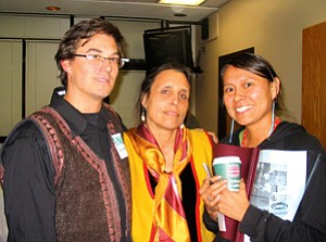 Winona LaDuke (center) of Honor the Earth, poses with Andy Bessler (left) of the Flagstaff Sierra Club and Wahleah Johns of the Black Mesa Water Coalition at a JTC meeting earlier this year (Photo courtesy of Just Trasition Coalition).