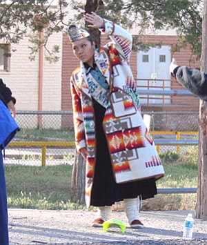 Miss Navajo Nation Jocelyn Billy joins in the stretch before heading out on the Journey to Wellness XI beginning at the old hospital in Fort Defiance on May 3 (Courtesy photo).