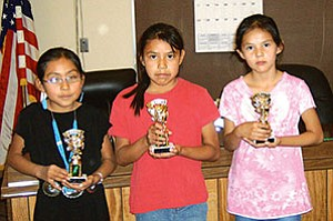 Second grade winners from the TC Primary School Navajo spelling bee (Photo courtesy of Susie Store).