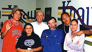 Hopi High radio students and teacher Stan Bindell with KNAU's John Stark.
