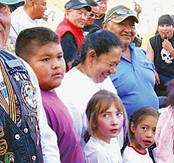 Centered among the hundreds of Native and non-Native participant riders in the Rolling Thunder Honor Run and the Native Honor Run are Lori Piestewa's family Terry (center right), Priscilla and Piestewa's surviving children, Brandon and Carla Whiterock (Photo by Rosanda Suetopka Thayer).