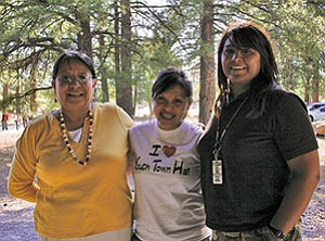 Josie Begay-James (left), Native American Counselor at Flagstaff High School, Yadira Caballero, and Constance Benally, a TNANAF Board Member at the scholarship presentation (Courtesy photo).