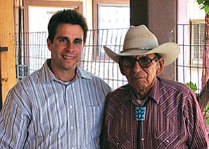 Howard Shanker (left) with David Neztsosie Sr., a Navajo rancher and medicine man at the Cameron Chapter House shortly after the Chapter issued a resolution supporting Shanker's run for Arizona Congressional District 1 (Courtesy photo).
