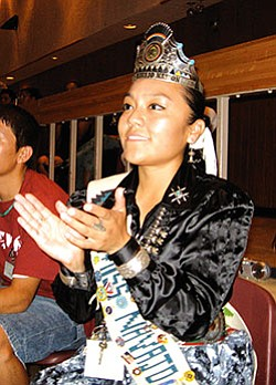 Miss Navajo Nation Jocelyn Billy applauds one of the guest speakers during the 2007 Youth Empowerment Conference held in Tsaile last month (Courtesy photo).