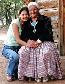 "Natasha Kaye Johnson (left) poses with Ethel Begay, who plays her grandmother in the film ""Turquoise Rose"" (Courtesy photo)."