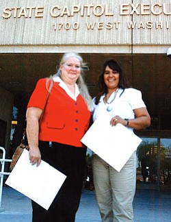 """Constance Benally and Del Glasgow of the Tuba City School District were recognized by Governor Janet Napolitano as Arizona """"Master Teachers"""" on Aug. 20 (Courtesy photo)."""