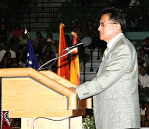 "Hopi Tribal Chairman Ben Nuvamsa speaks at the Tuba City High School graduation earlier this year. The Hopi Tribal Courts ruled Aug. 27 that the actions of the Vice Chairman and tribal council to nullify the election results that put Nuvamsa in office were ""unconstitutional"" (NHO file photo)."