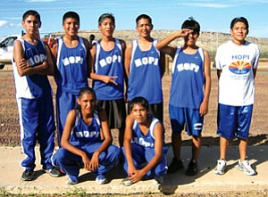 The Hopi High boys cross country team took second place in the boys race during the Hopi Invite Aug. 28 (Photo by Stan Bindell/Observer)