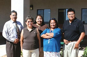 Tuba City Alternative High School offers the only on-reservation state sanctioned program with an accredited diploma for its graduating seniors. Pictured from left to right are: Edward Tuchawena/Director TCAHS, Wilhelmina Hogner-Begay/teacher, Belinda Badonie/administrative assistant, Evelena Sombrero-Remore/paraprofessional, Bob Tsinnie/academic and career counselor. Not pictured isCheryl Onsae/resource teacher (Photo by Byron Poocha/TCUSD).