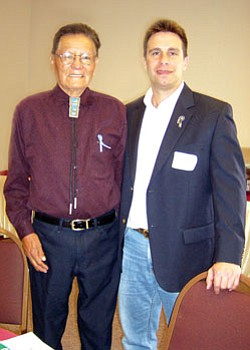 Howard Shanker (right) stands with Norris Nez, member of the Diné Hataalii Association, which recently passed a resolution in support of Shanker's run for Arizona's Congressional District 1 (Courtesy photo).