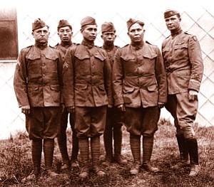 Choctaw telephone squad 1917-18. Photograph by Dr. Joseph K. Dixon Courtesy of the William Hammond Mathers Museum, Indiana University.