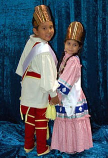 Little Mister Cherokee division two winner Wazhoza Palmer and Little Miss Cherokee division one winner Sinihele Rhodes.