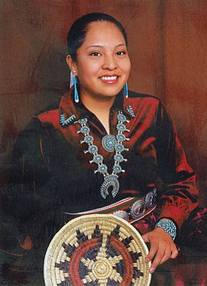 A recent photo of Mia Henderson in traditional Diné dress. During the early morning hours of Sept. 5, Henderson, a 2007 graduate of Tuba City High School, Manuelito scholarship recipient and University of Arizona freshman, was fatally stabbed by her roommate, Galreka Harrison, who Henderson accused of allegedly stealing a number of personal items (Photo by Rosanda Suetopka Thayer).
