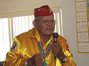Code Talker Keith Little remembers Aug. 14, 1945—the day Japan surrendered unconditionally to Allied forces. In 1982, this day was designated National Navajo Code Talkers Day by the U.S. government (Photo by Gary Elthie/Observer).