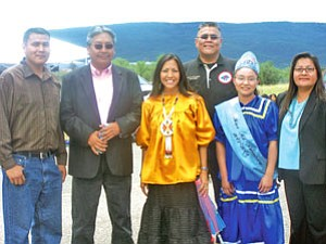 Mary Kim Titla (center in yellow), several members of the San Carlos Tribal Council and Miss Mt. Turnbull 2007-2008.