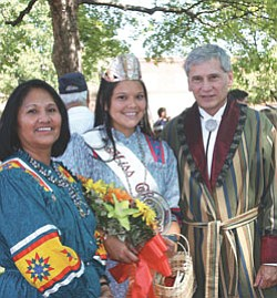 Lindsay Glass (center), newly crowned Miss Cherokee, poses with Cherokee Nation Principal Chief Chad Smith (right) and his wife, Bobbie Gail Smith, who is a former Miss Cherokee. Miss Cherokee represents the Cherokee Nation throughout the year as a goodwill ambassador to promote Cherokee government, culture and history (Courtesy photo).