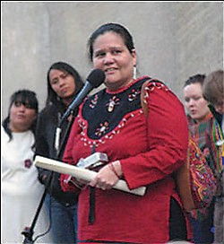 Beverly Jacobs of the Native Women's Association of Canada at a New York rally in support of the U.N. Declaration on the Rights of Indigenous Peoples. At left, Faith Gemmell of REDOIL and Wahleah Johns, local Diné Black Mesa Water Coalition activist stand in the background (Photo courtesy of Amnesty International).