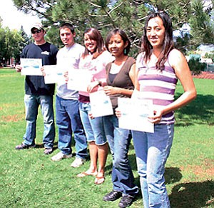 Pictured from left are the 2007 John and Sophie Ottens' Scholarship recipients: Sean Carr, Chase Voirin, Cristil Gomez, Kayleen Wilson and Kelly Saganey (Photo by Diane Rechel/NAU).