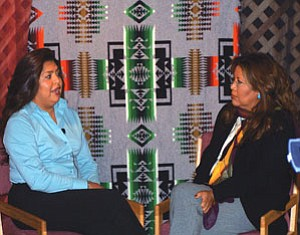 "Holly Figueroa (left) explains the Wi$e Up financial literacy program to ""Native American News from Northern Arizona"" host Jamescita Peshlakai (Photo by Wells Mahkee Jr./NHO)."