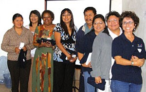 Pictured left to right: new and renewed HEEF board members, Sahmie Wytewa, Dr. Sheilah Nicholas, Cynthia Dagnal-Myron, Monica Kahe, Marvin Yoyokie, Catherine Talakte, Monica Nuvamsa and Janet Regner (Courtesy photo).