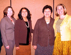Navajo Nation first lady Vikki Shirley (second fron left) was appointed to the Violence Against Indian Women Task Force by Mary Beth Buchanan (far left), acting director of the U.S. Department of Justice Office on Violence Against Women. Also attending last month's tribal consultation meeting in Albuquerque was Lorraine Edmo (second from right), deputy director for tribal affairs in the Office on Violence Against Women and Kristen Rowe, principal deputy director of the Office on Violence Against Women. (Photo by George Hardeen/OPVP).