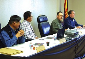 Navajo County Supervisor Percy Deal (District I, left), Supervisor Jesse Thompson (District II), Supervisor J.R. DeSpain (District III) and Navajo County Manager Jimmy Jayne meet at the Navajo County Courts Complex in Kayenta (Courtesy photo).