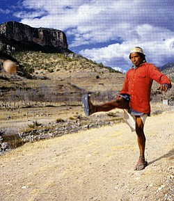 A Tarahumara ball player in Basihuare, Sierra Tarahumara, Chihuahua, Mexico (Photo by Gerard Tournebize).
