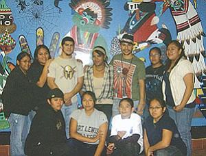 Tizoc and Quetzal Guerrero pose with a few of the Hopi JROTC cadets.