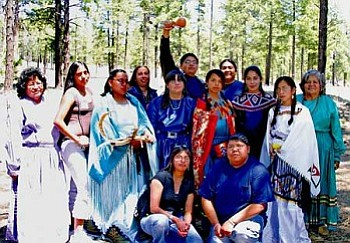 The Hualapai Ethnobotany Project students and staff: Lucille Watahomigie, Phyna Cook, Adina Hunter, Carrie Cannon, Cheyenne Majesty, Dennis Sullivan, Christina Watahomigie, Frank Mapatis, Veronica Lewis, Amy Vaughn, Malinda Powskey, Nikki Poleahla and Colleen Mack. Other staff and students involved but not present in the photo include Delores Honga, Vera Watahoname, Cheryle Beecher, Andrea Zephier, Georgetta Russel, Consuela Bravo and Majenta Powskey (Photo courtesy of the Hualapai Ethnobotany Project).