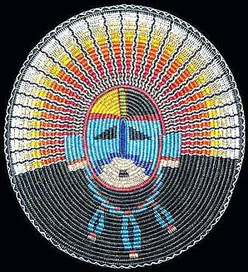 """""""Face of the Sun"""" basket by Elsie Holiday (Diné)."""