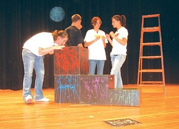 The cast from Clean and Sober Theater simulate smoking marijuana (Photo by Stan Bindell/NHO).