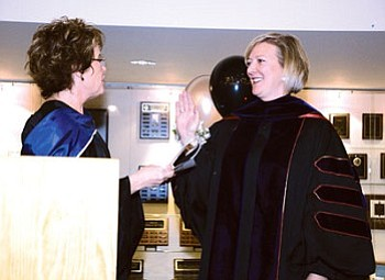 Coconino County Superintendent of Schools Cecelia Owen (left) officially inducted President Leah Bornstein into office Nov. 17 at the CCC Lone Tree Campus (Courtesy photo).