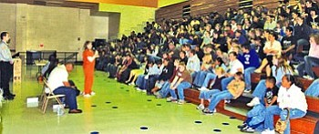 Navajo County Coalition Against Drug Abuse panelists speak to Joseph City students, grades 6-12, about the dangers of substance abuse, particularly methamphetamines. Speaking is Navajo County Jail inmate Shanna Hughs (Courtesy photo).