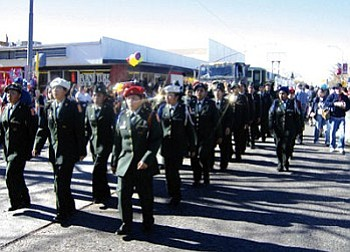 The Hopi High JROTC Bruin Battalion showing what they do best at parades (Courtesy photo).