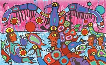 """Shaman Between Two Worlds"" by Norval Morriseau (Image Courtesy of NMAI)."