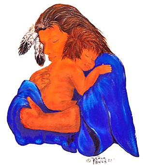 "Cherokee artist Verna Bates provided her work, entitled ""Making Small Talk,"" for use on note cards for the Cherokee Nation's Indian Child Welfare program. Funds generated from the cards will benefit tribal children in foster care (Courtesy image)."