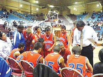 With the Holbrook Roadrunners leading 38 to 35, Holbrook's Raul Mendoza calls a time out, to regroup and continue (Photo by Anton Wero/NHO)