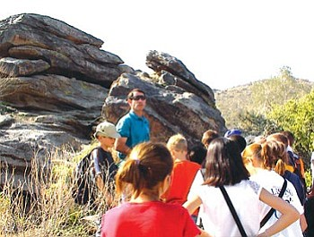 Pueblo Grande Museum docent Larry Offenberg leading a Petroglyph Discovery Hike tour (Courtesy photo).