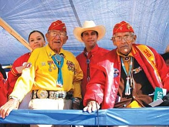 Arizona Congressional candidate Howard Shanker poses with two Navajo Code Talkers (Courtesy photo).