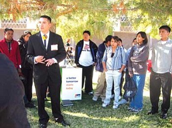 Ft. Mohave Chairman Timothy Williams addresses the students from Hopi Jr/Sr High School (Photo by Stan Bindell/NHO).