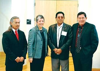 Navajo Nation Council members met with officials from the state of Arizona Jan. 21 to discuss issues regarding the state's budget deficit. Pictured are Council Delegate George Arthur, Governor Janet Napolitano, Amos Johnson, and Lorenzo Bates (Photo by Joshua Lavar Butler/NN-OS).