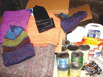 A sampling of items that are included in winter emergency boxes that are delivered to elders and other underprivileged communities throughout Indian Country by National Relief Charities (NRC; photo courtesy of NRC).