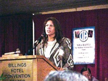 Carole Anne Heart addresses NIEA membership at the 2001 NIEA Convention in Billings, Mont. (Photo courtesy of NIEA)