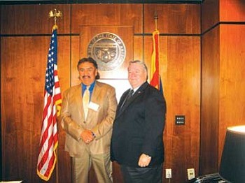 Navajo Nation Speaker Lawrence T. Morgan (left) stands with Arizona Speaker of the House Jim Weiers (Photo by Stan Bindell/NHO).