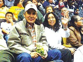 Navajo Nation President Joe Shirley Jr. and First Lady Vikki Shirley were among the nearly 7,500 people in attendance to witness the Arizona 3A North Region championships held at the Wildcat Den in Chinle on Feb. 8 (Photo by Anton Wero/NHO).