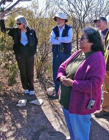 Karen Reichhardt (BLM botanist from Yuma), Carl Tomoff (professor of botany at Prescott College) and Frank Reichenbacher (Bio-Concepts of Phoenix) examine a juniper tree with Theodora Homewytewa of Second Mesa (Photo by S.J. Wilson/NHO).