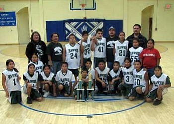 The boys and girls teams at Cameron's Dzil Libei Elementary, which is one of the seven Tuba City District's school, won both championships this year. This is first time that this school has participated in the Hopi elementary school basketball league (Photo by Shar Navajo).