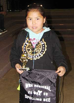 Francita George, won the 2008 fifth grade level, Western Navajo Agency Spelling Bee. George is a student at Dzil Libei Elementary in Cameron (Photo by Tanya Tso).