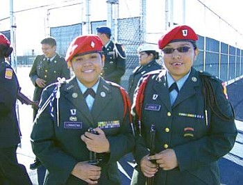 Cadet Major J'mal Lomakema (left) led the Drill Team in the Unarmed Regulation and Cadet Sergeant Carrie Jones led them in the Armed Regulation (Photo courtesy of Hopi JROTC).