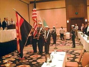 The Hopi High JROTC Color Guard posts colors at the Bureau of Indian Education.